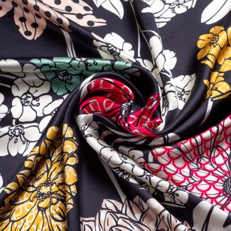 Silk scarf Secret Garden black