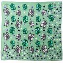 Owls on green silk scarf