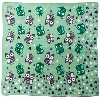 Owls on green silk scarf