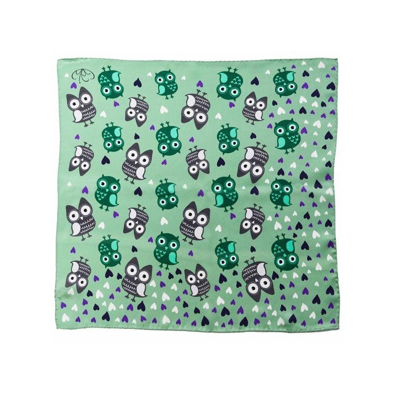 Eșarfă mătase naturală bufnițe pe verde mentă
