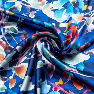Silk scarf Autumn Poeme blue