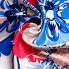 Silk scarf S Flower Kiss blue
