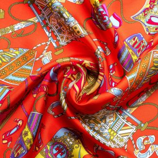 Silk scarf S twill Parisienne orange