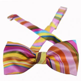 Pink Indo stripes silk bow tie