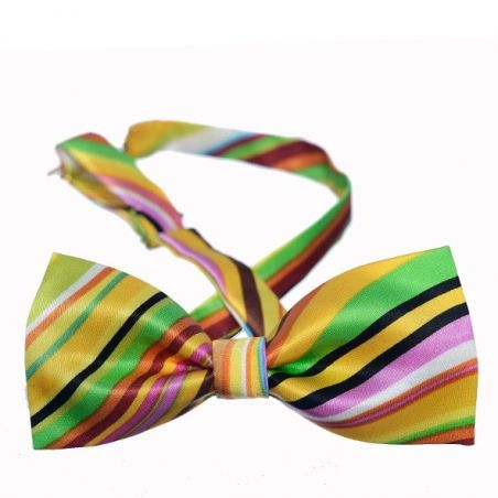 Yellow Indo stripes bow tie