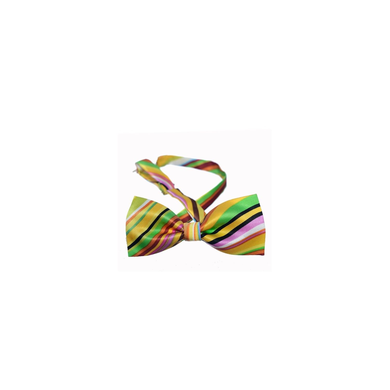 Yellow Indo stripes bow tie