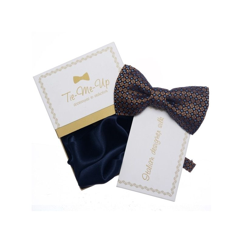 Gift: Natural silk bowtie and Navy silk handkerchief