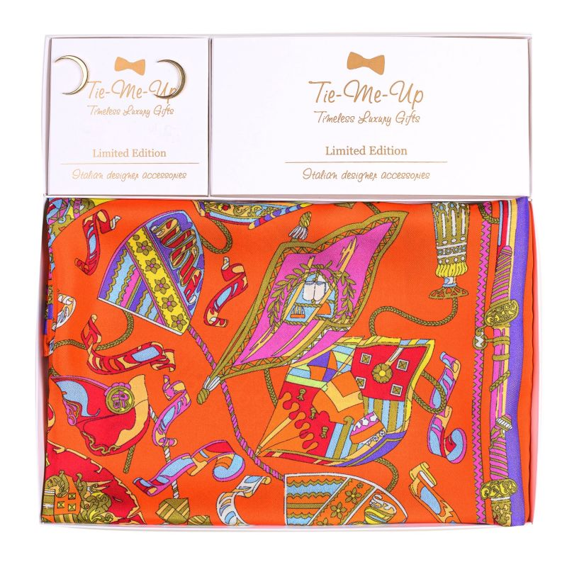 Gift Silk Scarf S twill Parisienne orange and Silver Earings Moon gold
