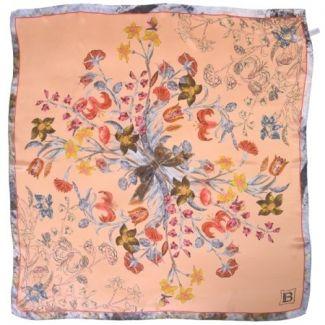 Laura Biagiotti Peach floral silk scarf