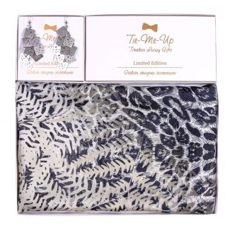 Gift Silk Scarf S twill Savanna morning and Silver Earrings Look Amazing