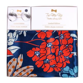 Gift Silk Scarf Secret Garden blue and Silver Earrings Street Fashion