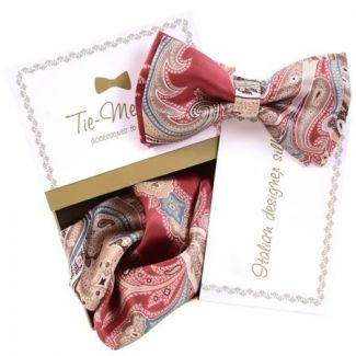 Luxury gifts for men: natural silk bowtie and handkerchief MC Paisley Marsala
