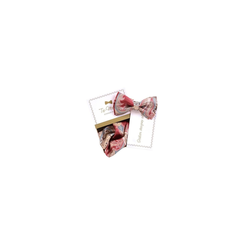 Luxury gifts for men: natural silk bowtie and handkerchief MC Paisley Marsala