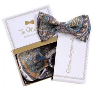 Luxury gifts for men: natural silk bowtie and handkerchief Paisley peacock