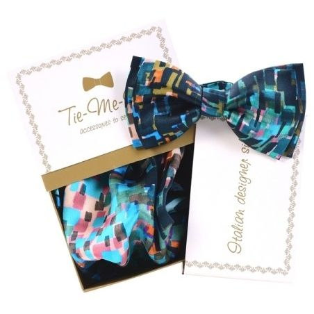 Luxury gifts for men: natural silk bowtie and handkerchief Toscana Blues