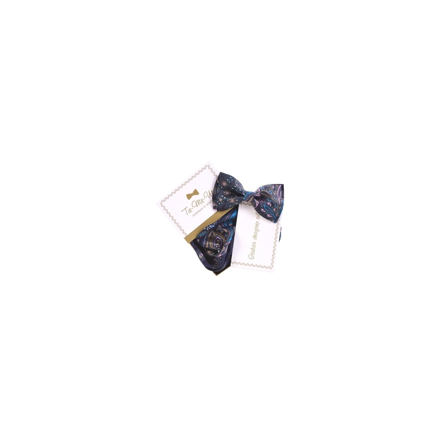 Luxury gifts for men: natural silk bowtie and handkerchief Paisley navy