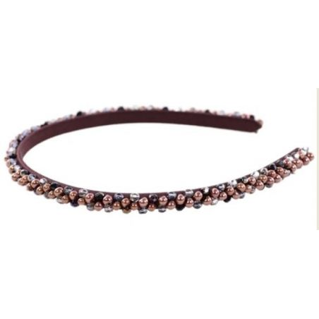 Headband Glamour skinny  chocolate pearls