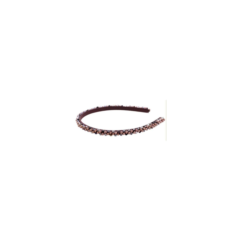 Headband Glamour skinny cristale si perle ciocolata