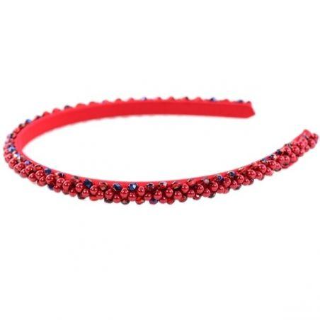 Headband Glamour skinny perle si cristale rosii