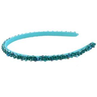 Headband Glamour skinny turcoise cu cristale