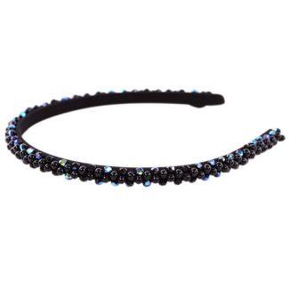 Headband Glamour skinny negru cu cristale