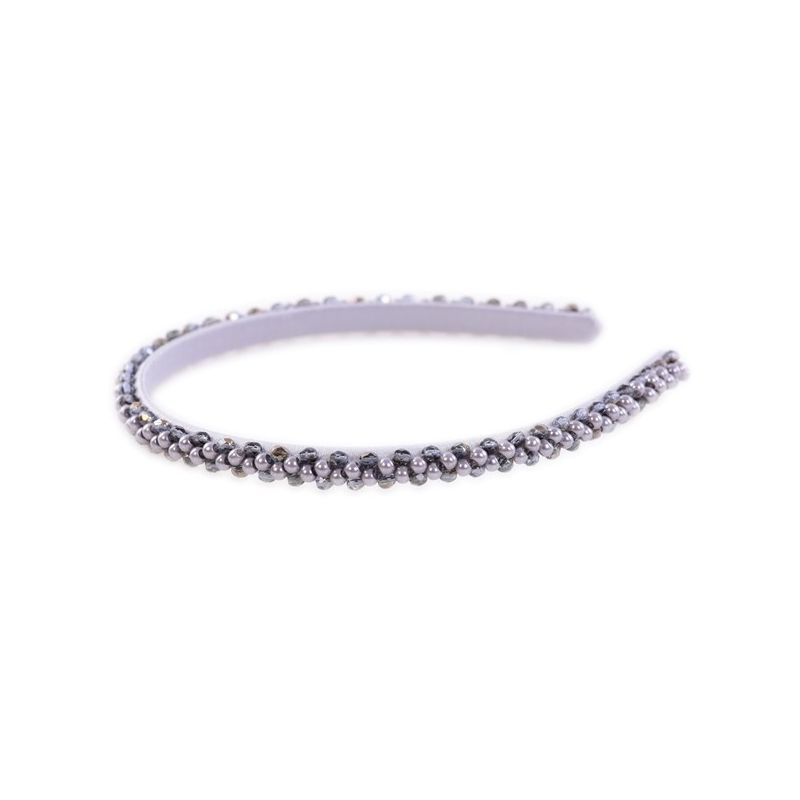 Headband Glamour skinny grey crystals