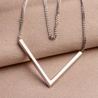 Silver necklace V for Victory