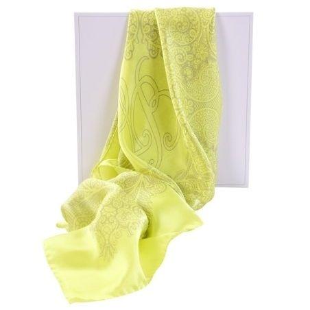 Luxury gift : Laura Biagiotti silk scarf delicate limette geometric print