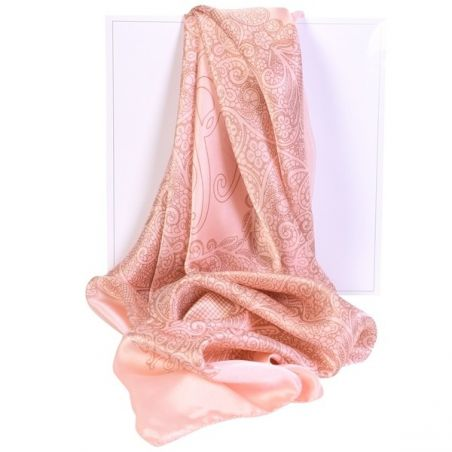 Luxury Gift: Laura Biagiotti delicate pink salmon silk scarf and silk bow clip