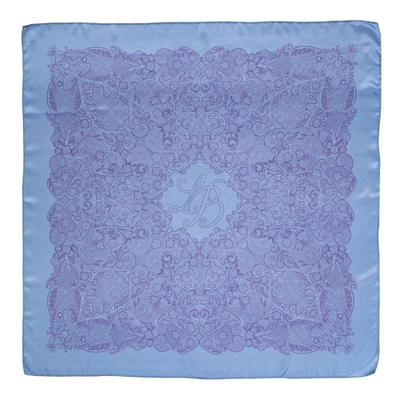 L. Biagiotti Blue Simple Geometric Squared Scarf