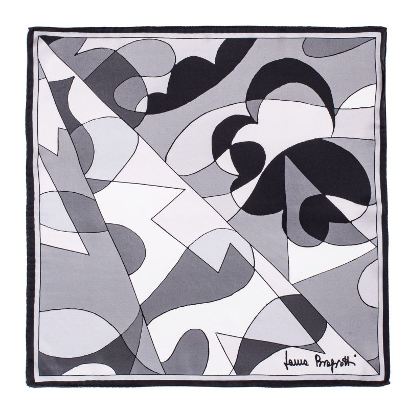 Silk Scarf Black Abstract