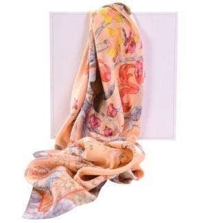 Luxury gift: Laura Biagiotti Peach floral silk scarf