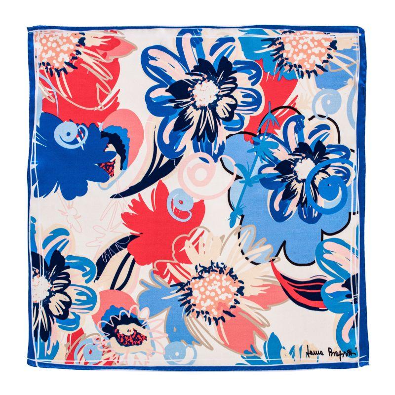Esarfa matase S Flower Kiss blue