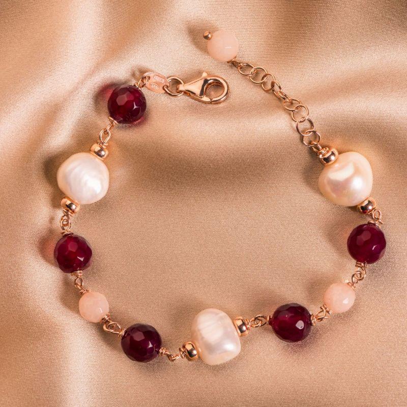 Bratara argint cu agate ruby, cuart roz, perle