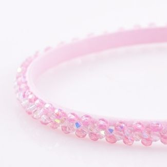 Headband Glamour skinny cristale roz si aurora boreala