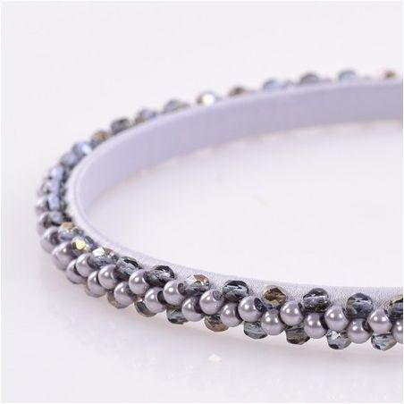 Headband Glamour skinny gri cu cristale