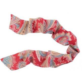 CADOU: Eșarfă mătase naturală Paisley Marsala cu fundiță