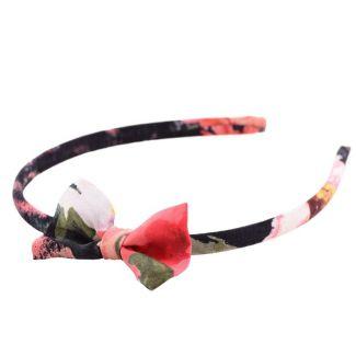 Headband cu fundiţă MC flori corai pe negru