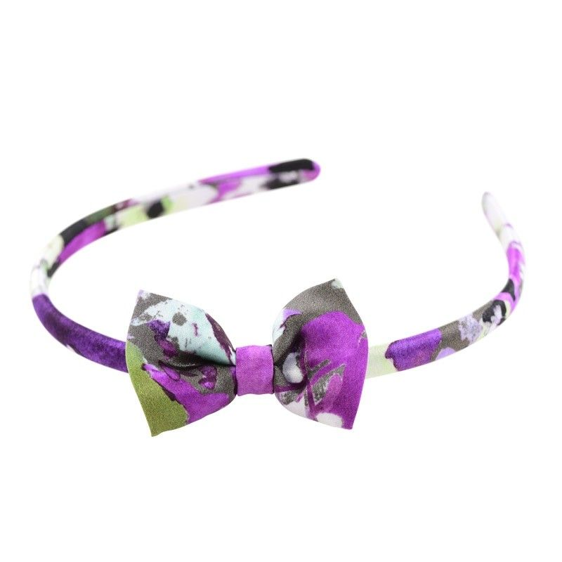 Purple green aquarela bow headband