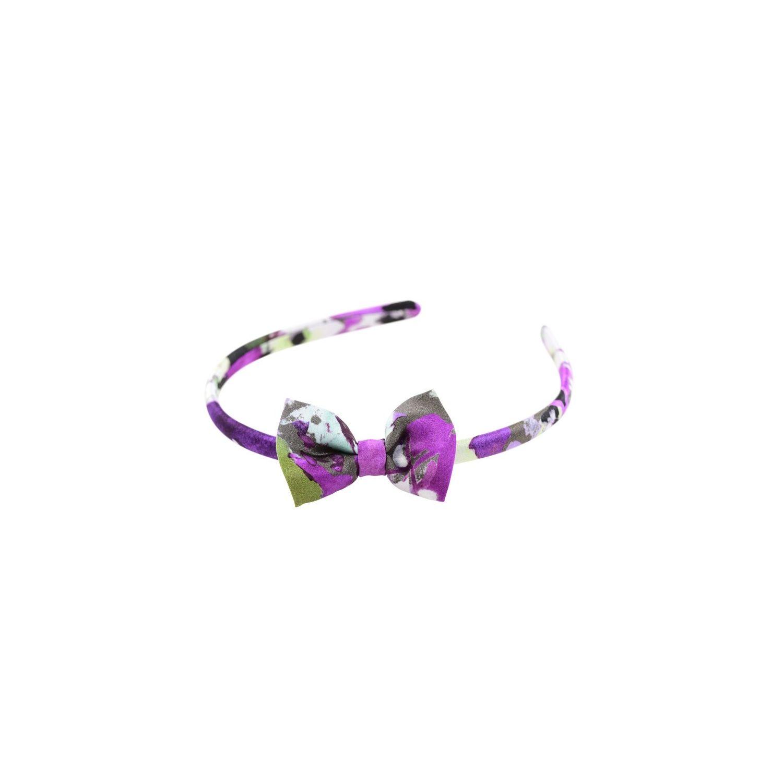 Purple green aquarela bow headband