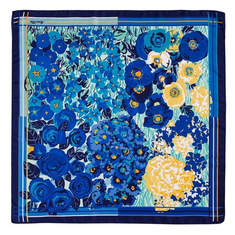 Esarfa matase twill Floral Euphoria blue