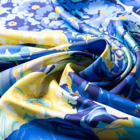 Silk scarf twill Floral Euphoria blue