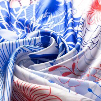 Silk scarf twill Tres Belle blue