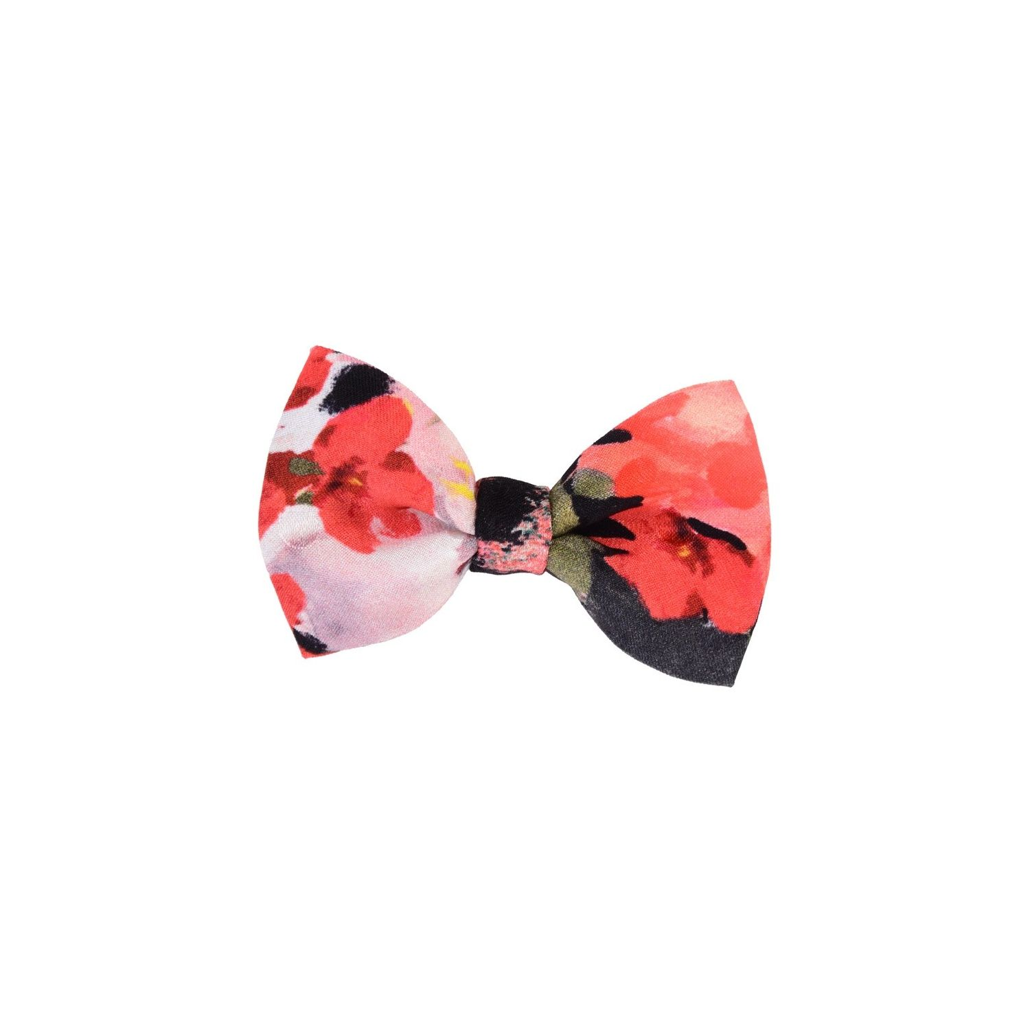Coral flowers on black bow