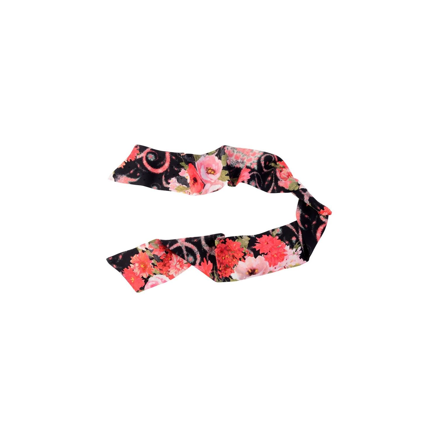 Coral flowers on black Silk Scarf