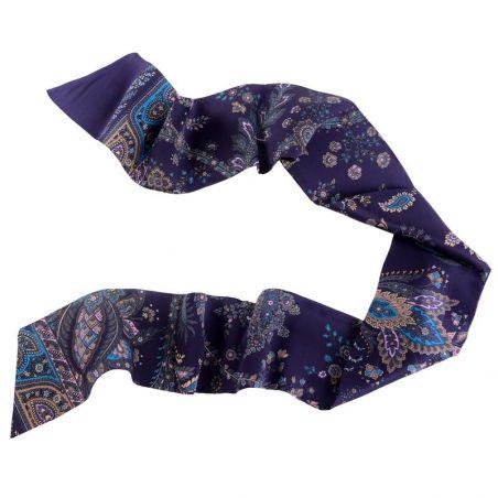 Eşarfă mătase naturală Paisley bleumarin