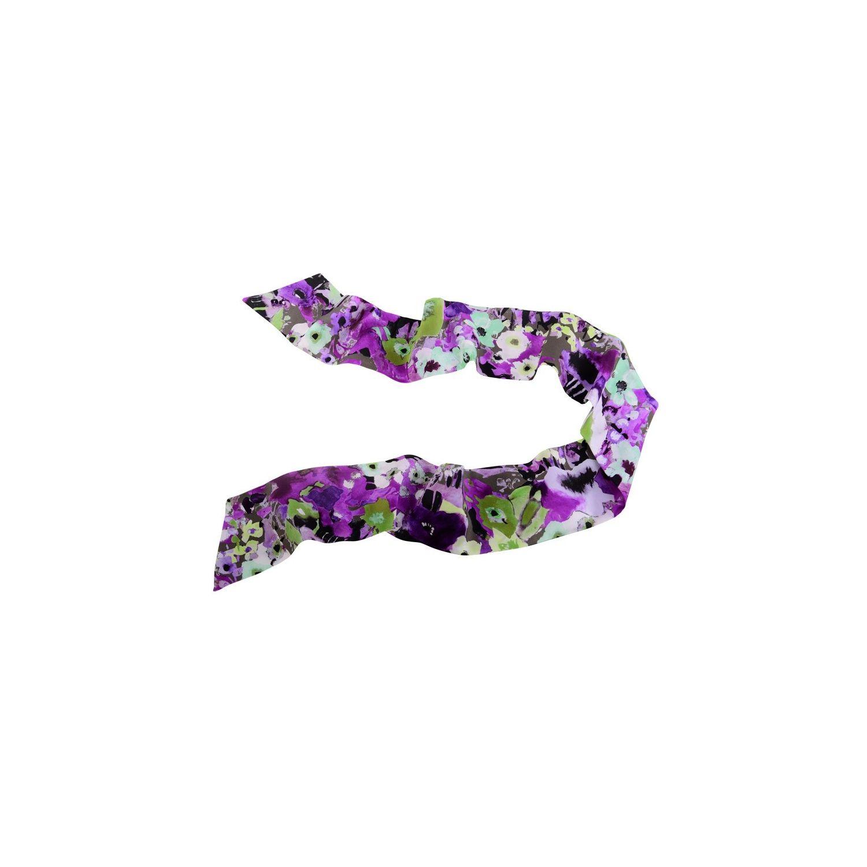 Eşarfă mătase naturală aquarela verde violet