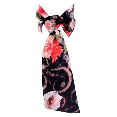 Eşarfă cu volan MC flori corai pe negru