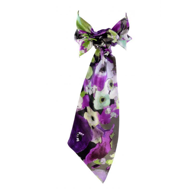 Eşarfă cu volan Ungaro aquarela verde-violet