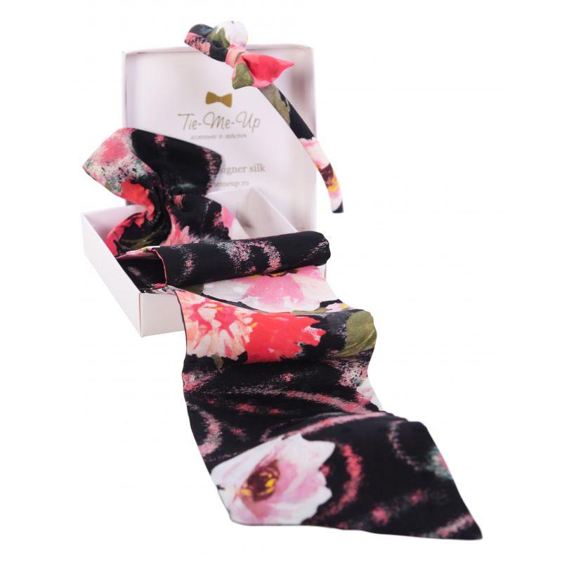 CADOU: Eşarfă mătase naturală cu volan şi Headband Roses Crush
